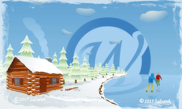 An illustration - Log cottage and ice skating on a lake in Canada