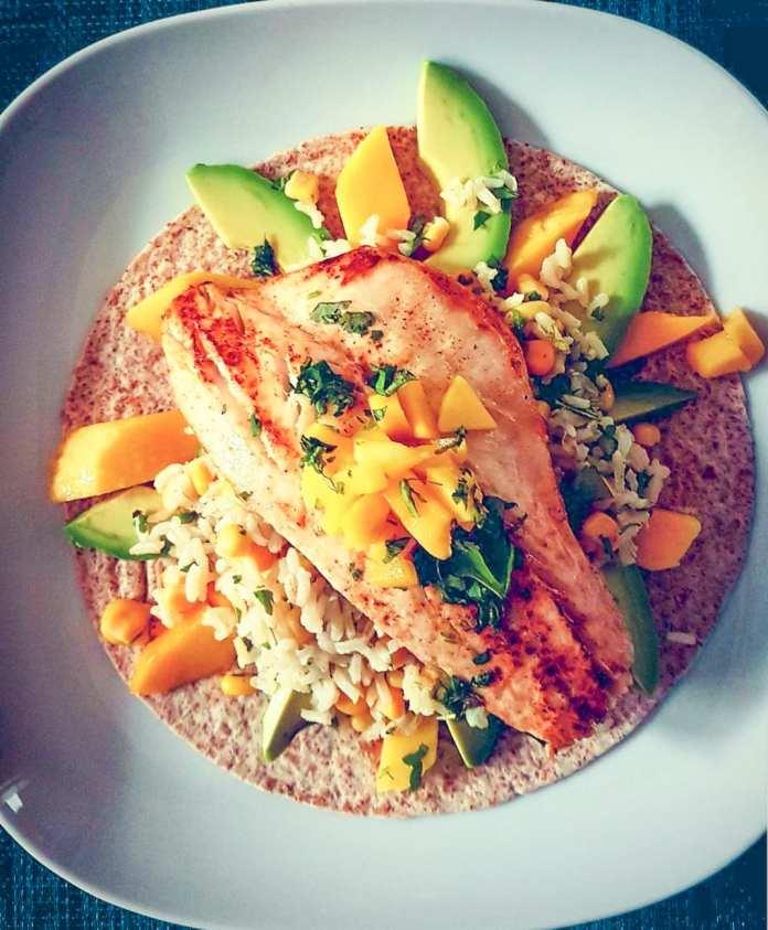 Mexican Sea Bass with Wholegrain Rice, Avocado, Fresh Mango, Sweetcorn and a Wholegrain Tortilla