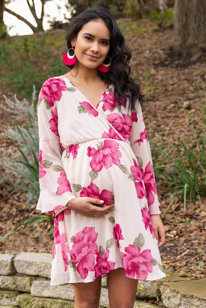 Ivory Floral Chiffon Wrap Maternity Dress