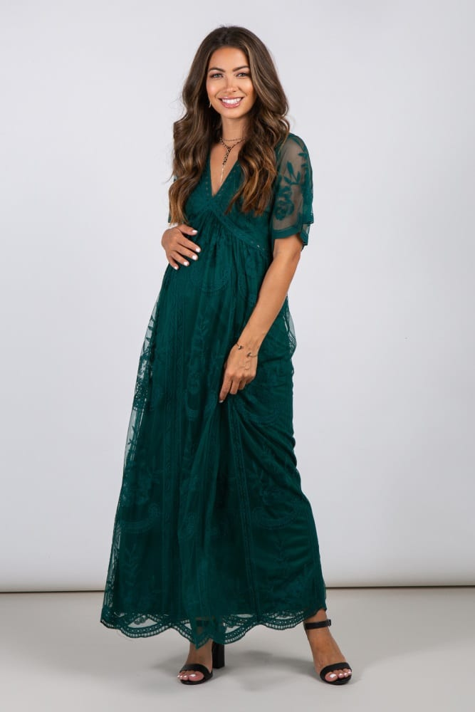 Forest Green Lace Mesh Overlay Maternity Maxi Dress