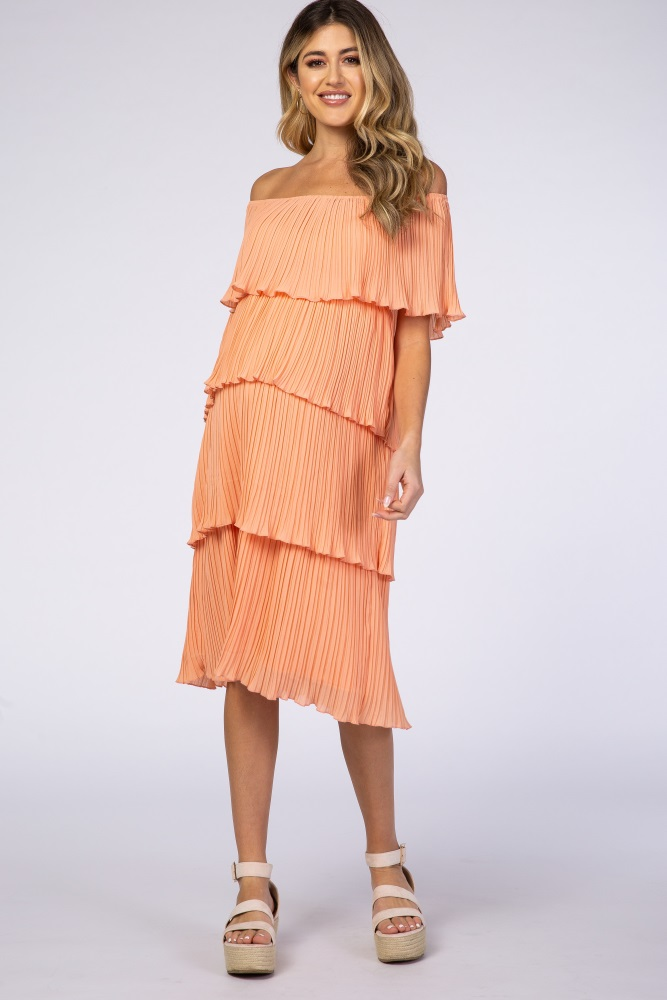 Waverleigh Peach Pleated Off Shoulder Tiered Maternity Dress