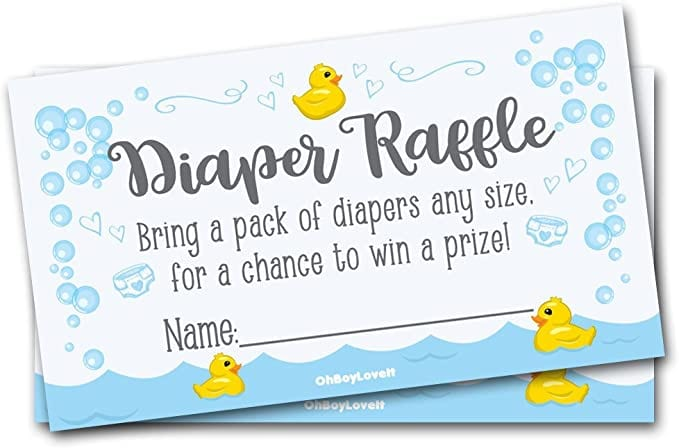 Oh Boy Love It 50 Diaper Raffle Tickets for Baby Shower Rubber Ducky Theme