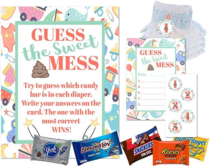 Dirty Diaper Game Baby Shower Guess This Sweet Mess Diaper Candy Poop Games For Boys and Girls Shower