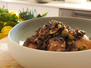 Chicken with dates, olives & capers