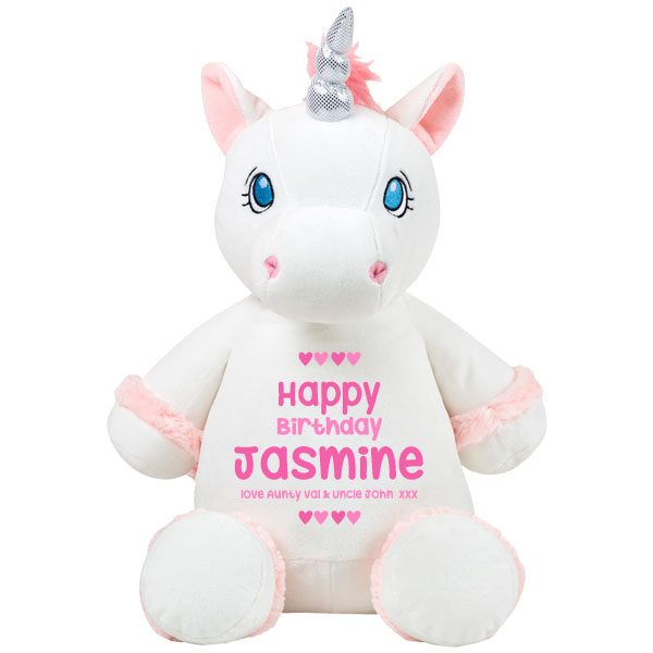 Personalised Girls Gifts  Personalised White Unicorn Soft