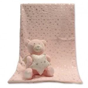 Snuggle Baby babydeken met knuffelbeer roze set 2-delig