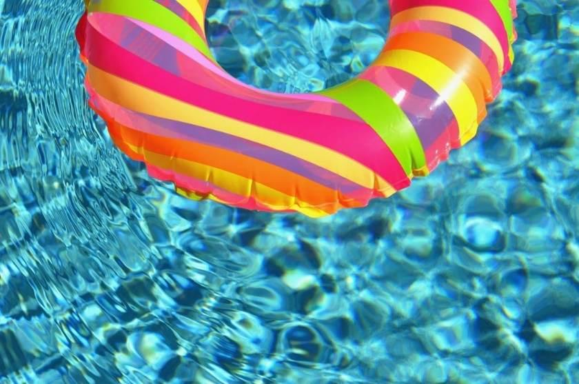 Pool floatie in pool