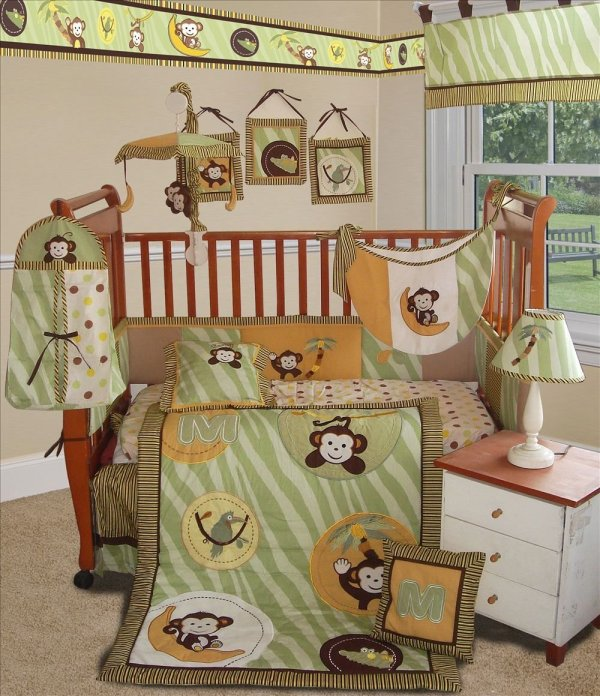 Sisi Jungle Monkey Crib Bedding Collection In Green - Baby