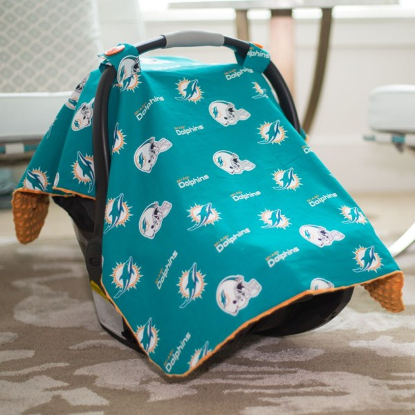 Miami Dolphins Baby Gear Carseat Canopy Cover Nfl Licensed