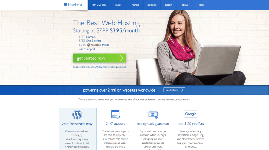 Baby Boomer blog   Hosting   Bluehost Home page