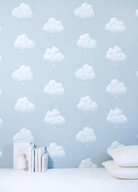 carta da parati nuvole di cottone blu
