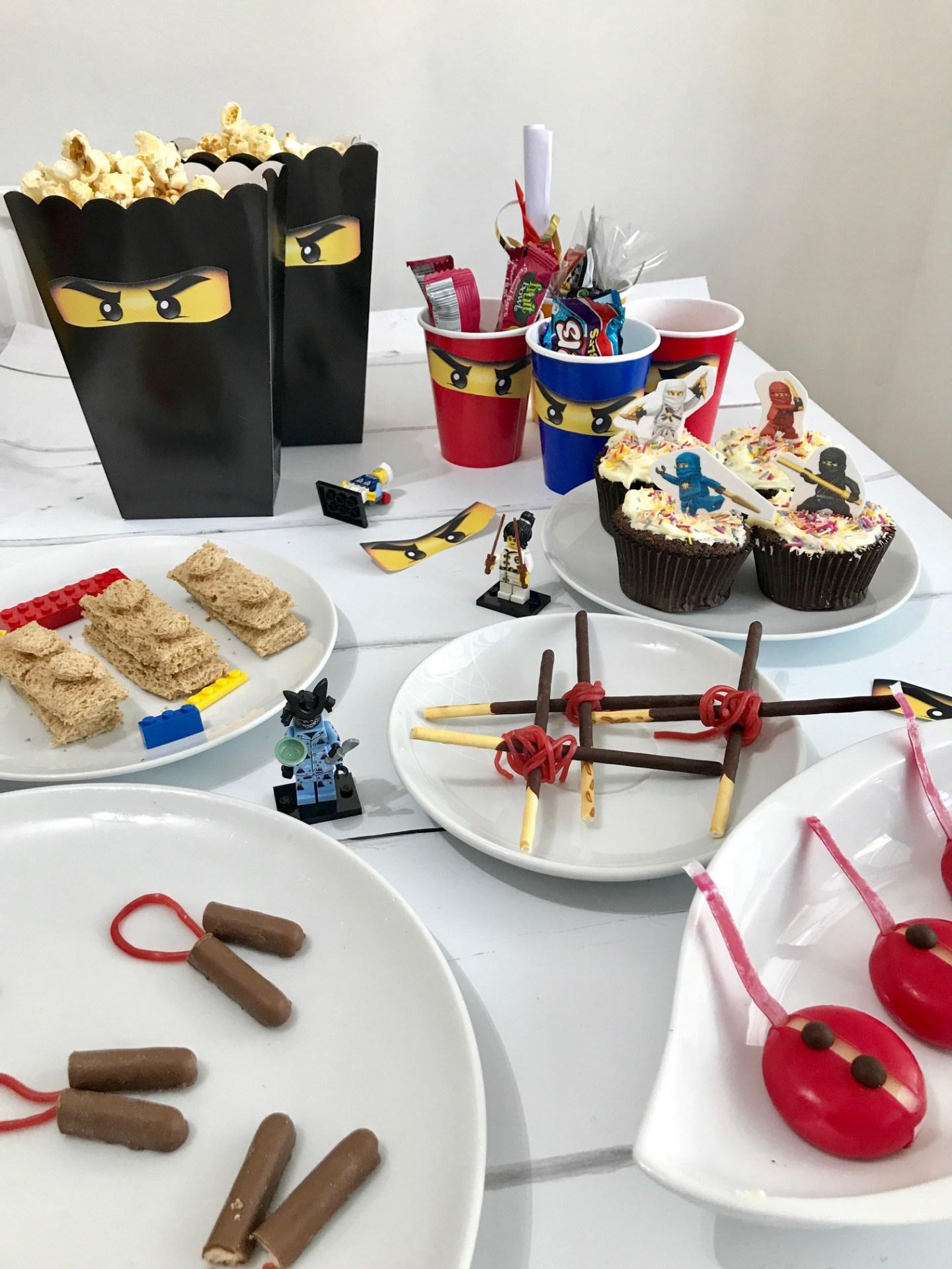 DIY Lego Ninjago Party Ideas including Lego Ninjago party bags, Ninjago party food, Ninjago party tea, How to make lego sandwiches, Lego ninjago party ideas