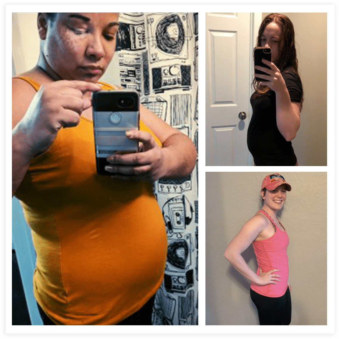 hight resolution of several women showing off their 6 weeks pregnant belly bumps