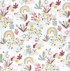 tissu coton arc en ciel en fleurs