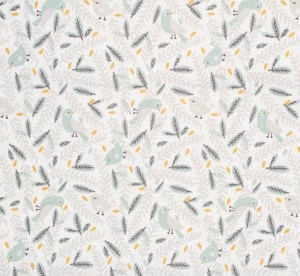 tissu coton nirona oiseau céladon gris