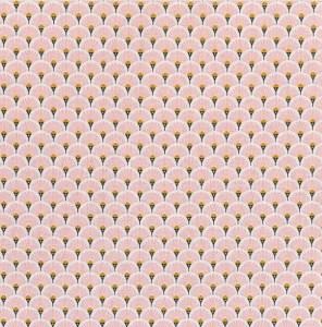 tissu coton éventails roses
