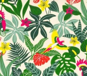 tissu coton tropical jungle feuillage exotique