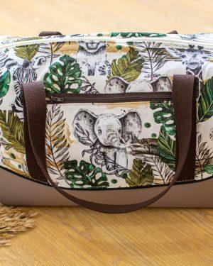 sac à langer thème safari jungle savane lion fait main artisanal créatrice