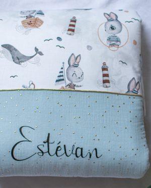 couverture plaid bébé double gaze douce et chaude fait main artisanale