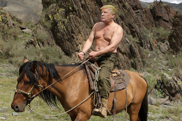 FILE - In this file photo taken on Monday, Aug. 3, 2009, then Russian Prime Minister Vladimir Putin seen riding a horse while traveling in the mountains of the Siberian Tyva region (also referred to as Tuva),  Russia, during his short vacation.  Putin has become alternately notorious and beloved for an array of adventurous stunts, including posing with a tiger cub and riding a horse bare-chested. (AP Photo/RIA Novosti, Alexei Druzhinin, POOL, File)