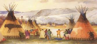 native painting of teepees