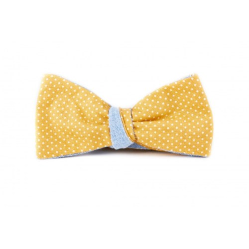 noeud-papillon-jaune-moutarde-a-pois-revers-chambray-bleu-ciel