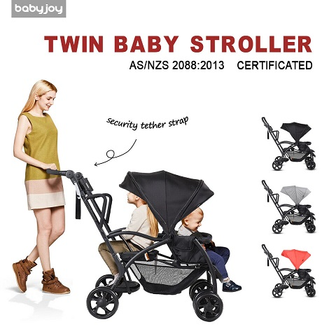 twin baby stroller with adjustable backrest