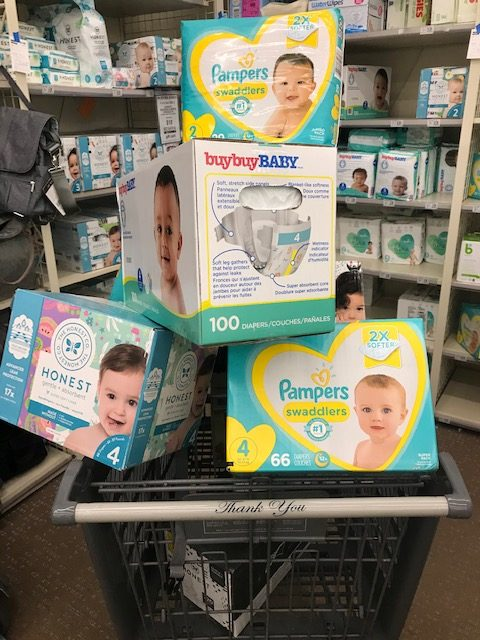 diapers in a shopping care