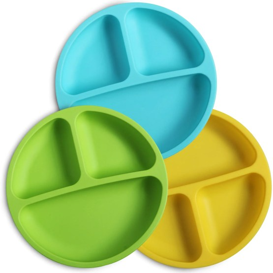 Silicone Divided Baby Plates | Non-Toxic, BPA Free & FDA/LFGB Certified | Dishwasher/Microwave Safe (Yellow)