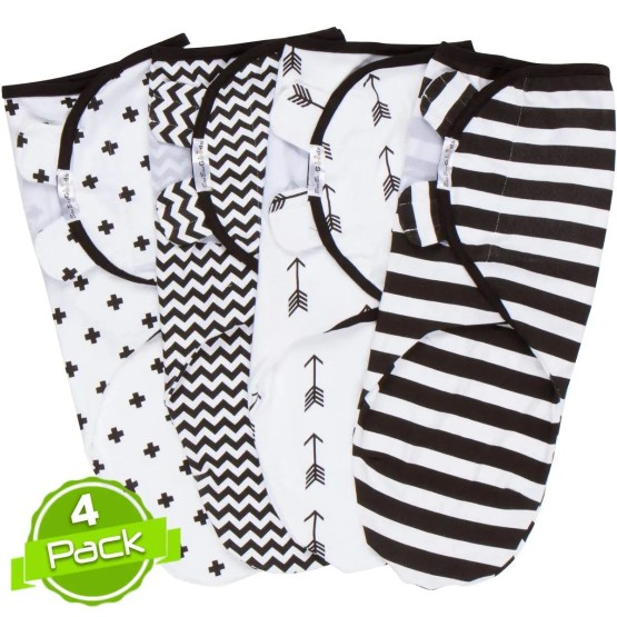 BaeBae Goods Swaddle Blanket, Black 4 Pack