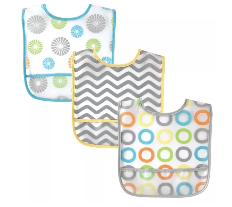 Luvable Friends Unisex Bibs with PEVA Back, 3-Pack Circles