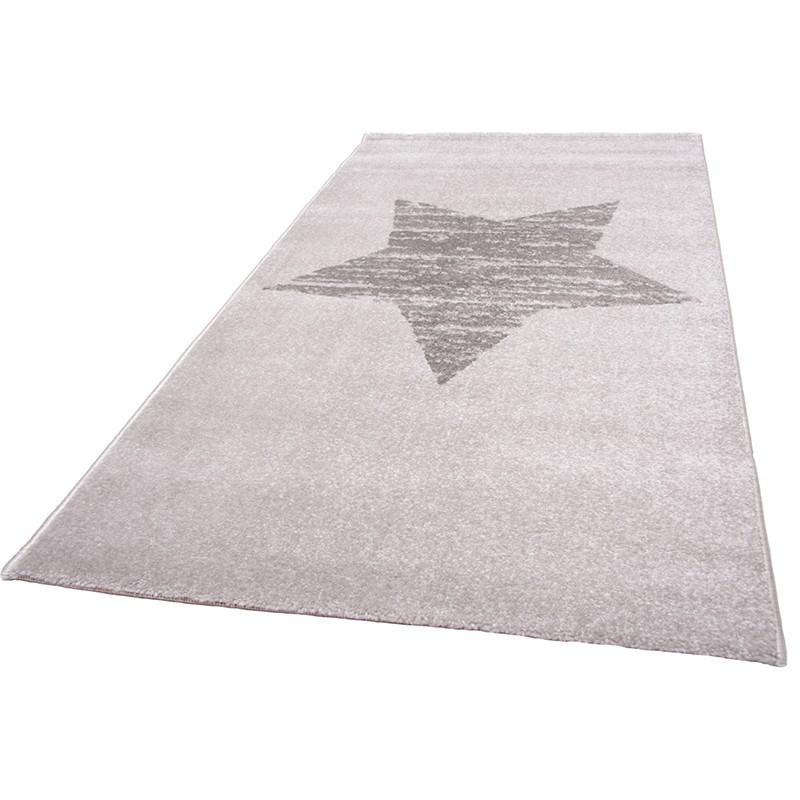 Zeitloser Kinderteppich mit Stern Lucero grau 100 Polypropylen kotex 100 zertifiziert 80 x