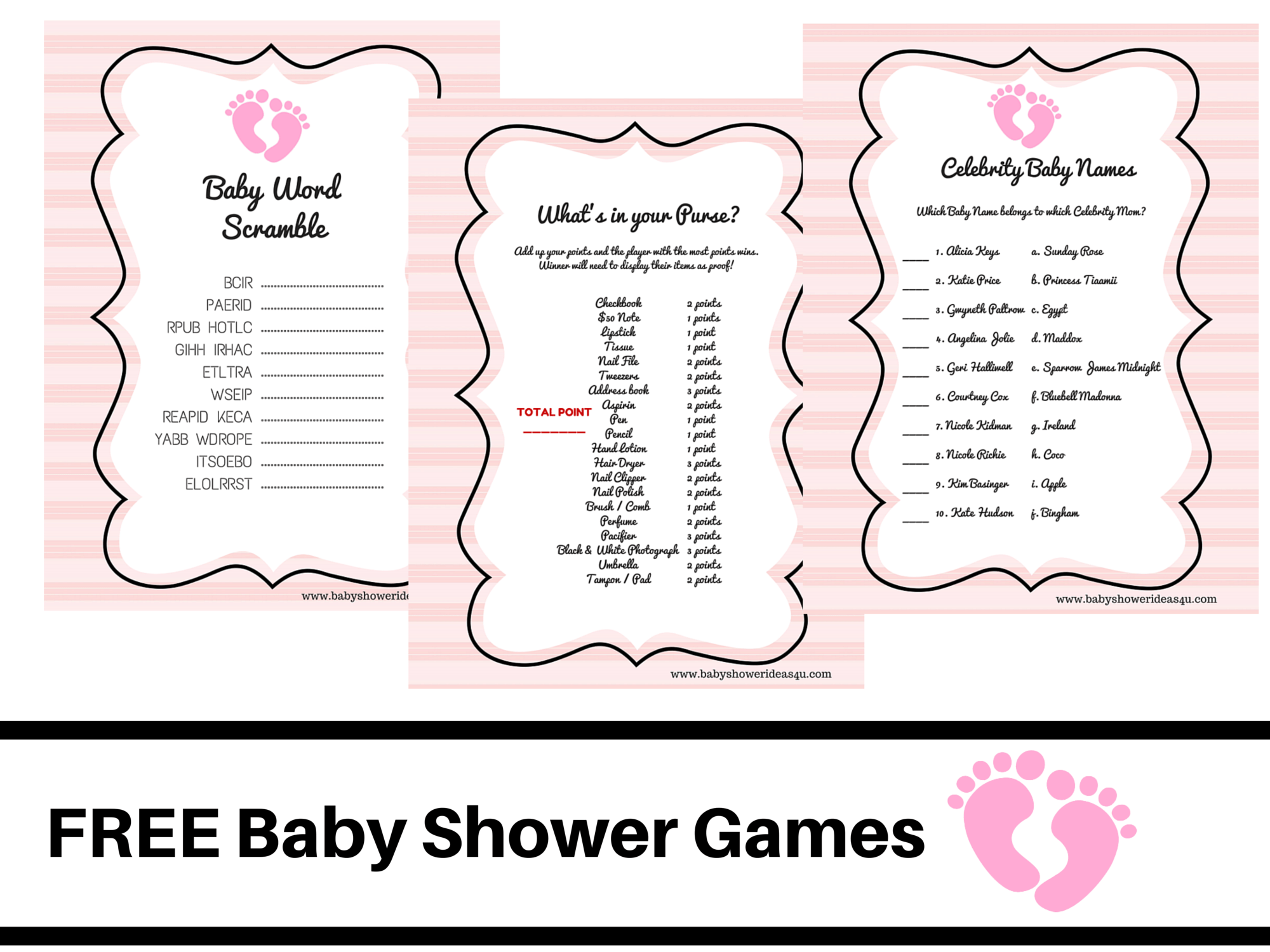 Free Printable Baby Shower Games Baby Word Scramble Baby Celebrity Whats In Your Purse Pink