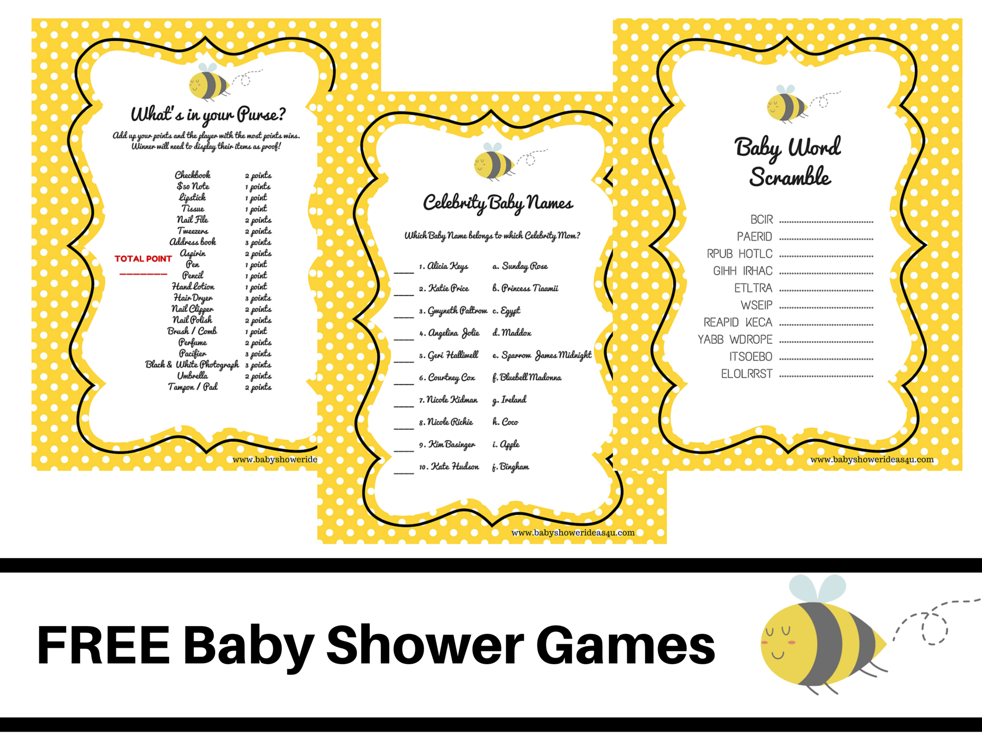 What Will It Bee Theme Baby Shower Free Printable Baby Shower Games Baby Word Scramble Baby