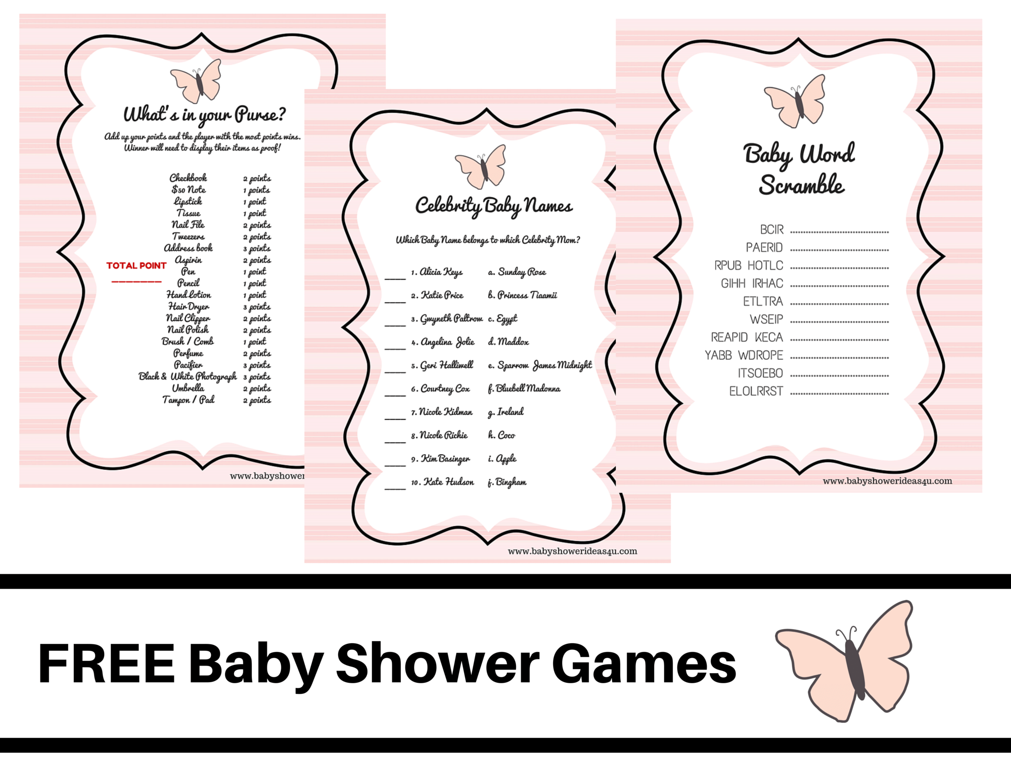 Butterfly Theme Baby Shower Free Printable Baby Shower Games Baby Word Scramble Baby Celebrity