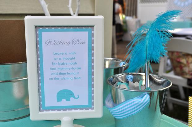 Modern Chevron Elephant Baby Shower Wishing Tree Baby