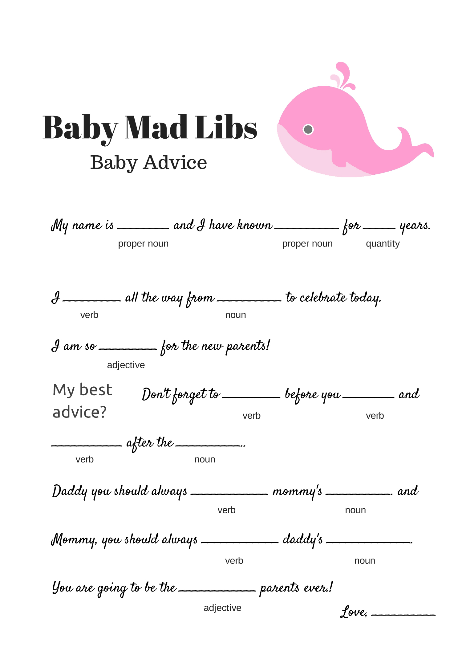 Free Baby Mad Libs Game