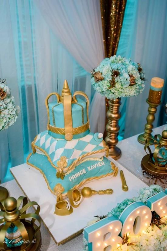 Golden Glamorous Prince Baby Shower  Baby Shower Ideas