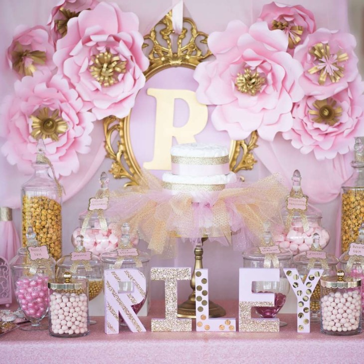 Shimmering Pink And Gold Baby Shower