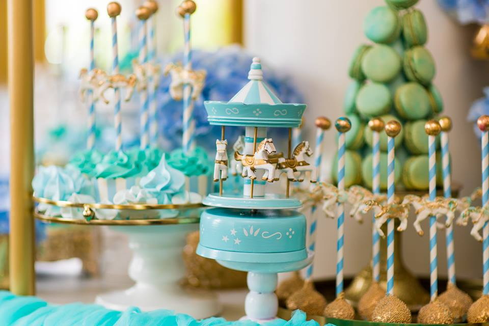 Blue and Gold Carousel Baby Shower  Baby Shower Ideas  Themes  Games