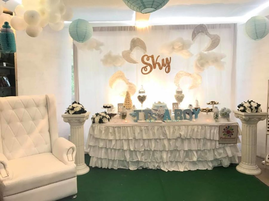 chair covers decorations outdoor bar height table and swivel chairs sky blue baby shower - ideas themes games