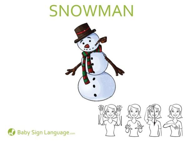 Snowman Baby Sign Language Flash Card