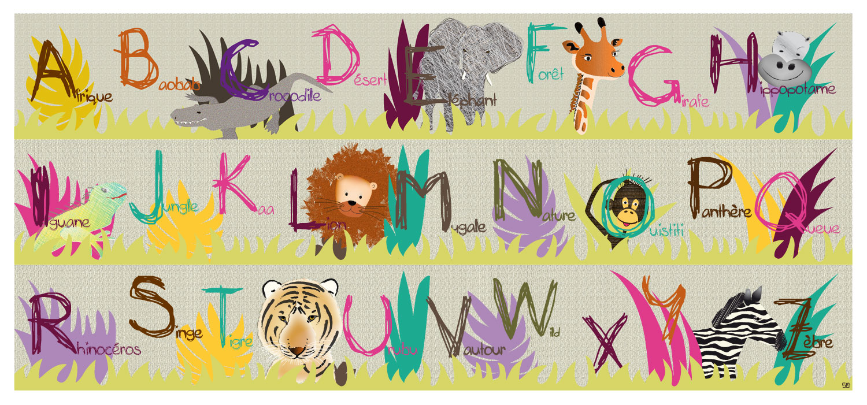 Frise abcdaire pour apprendre les 26 lettres de lalphabet et du vocabulaire sur le thme de