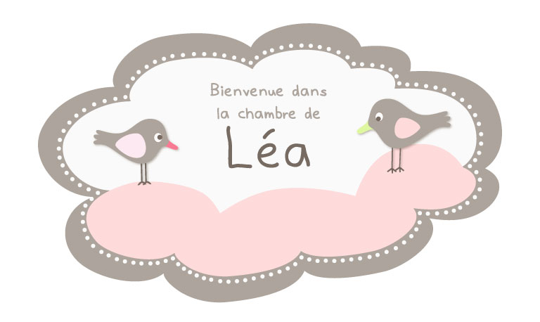 Sticker prnom nuage rose pour bb fille