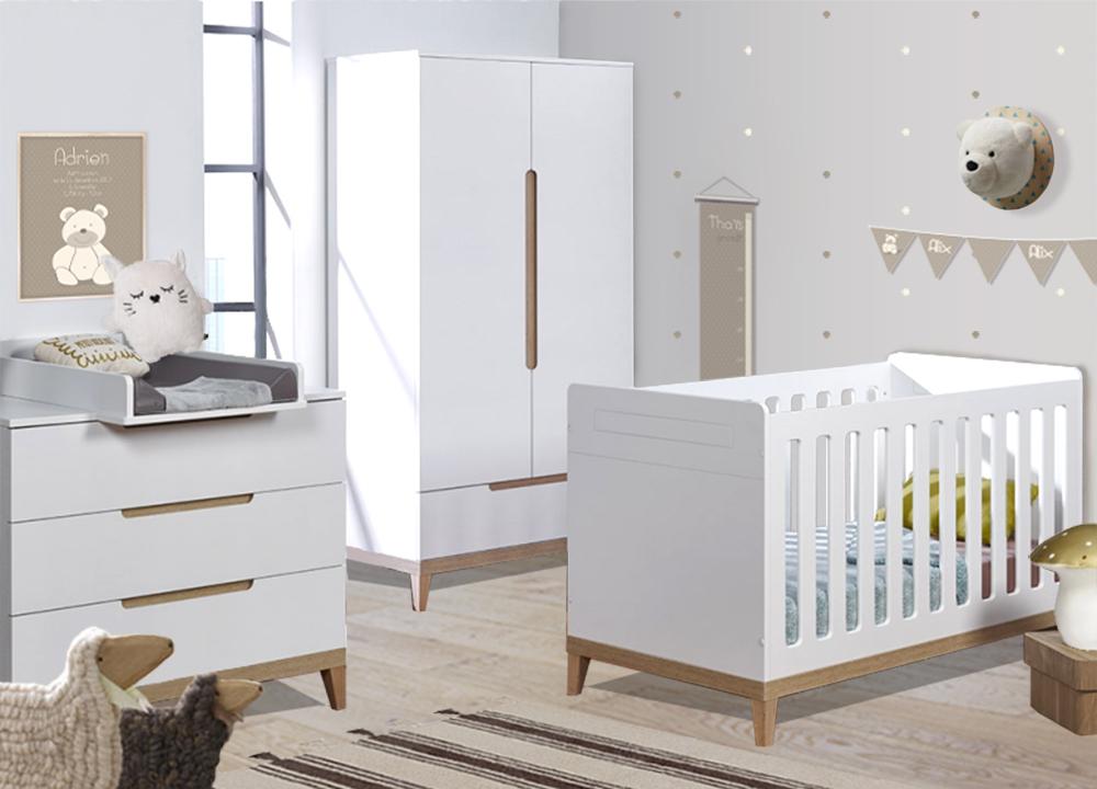 mobilier de chambre de bebe complet nature 70x140cm