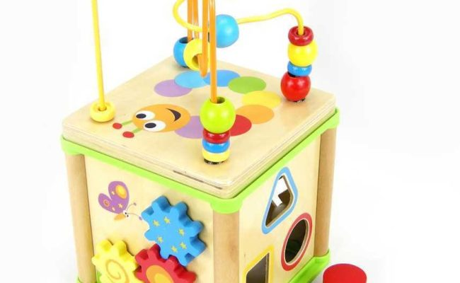 Top Bright Childrens 5 In 1 Wooden Activity Cube With Bead