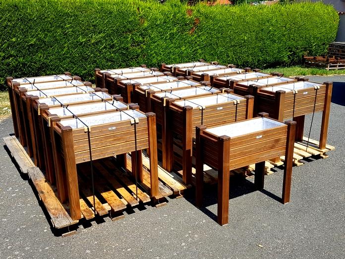 Bacs à Herbes Aromatiques 80x40 Chapeaux Marron Granité