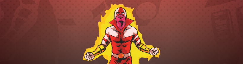 Superhero in red and while costume with gold braclets