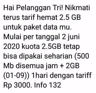 gambar perubahan ketentuan paket tri 2.5gb 3000 terbaru 2020 juni