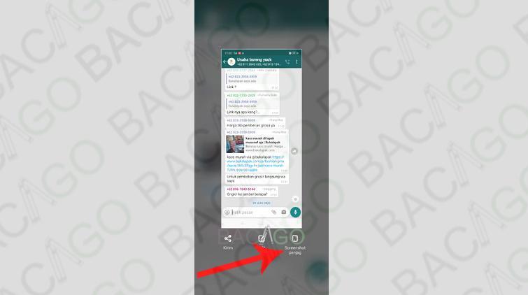 gambar screenshot panjang di whatsapp tanpa aplikasi tambahan